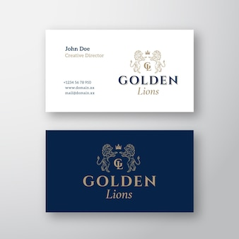 Golden lions abstract  logo and business card template.