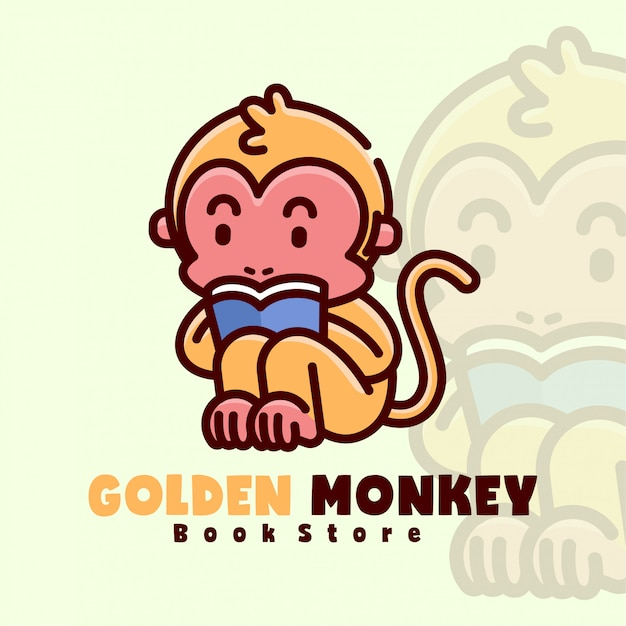 Golden little monkey reading a book cartoon logo