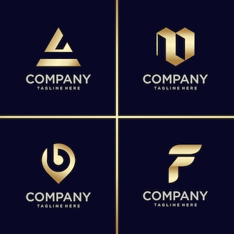 Golden logo design collection, letter, construction, business, finance, gold