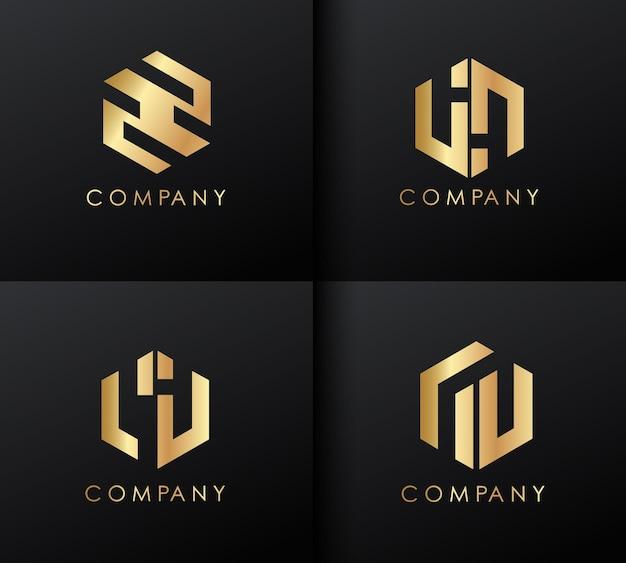 ゴールデンロゴデザインセット。ロゴタイプテンプレート。