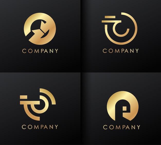 Набор золотых логотипов. шаблон логотипа.