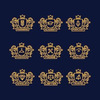 Золотой логотип шаблоны коллекции