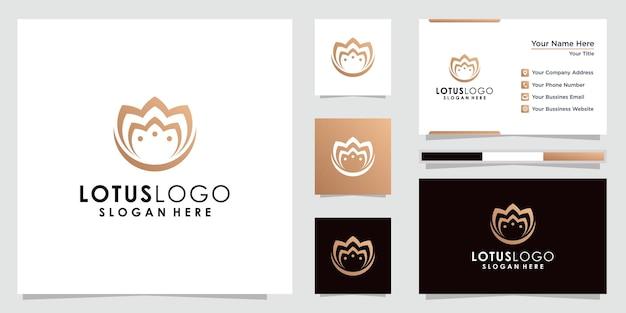 Золотой лотос цветок логотип и дизайн визитной карточки.
