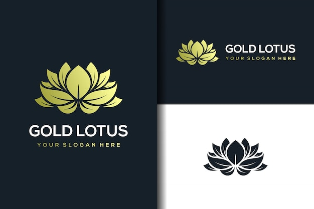 Golden lotus logo design template