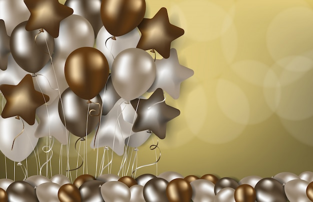 Golden luxury balloons stand on gold background, happy birthday party backdrop