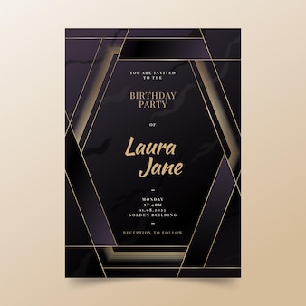 Modello di invito di compleanno di lusso dorato