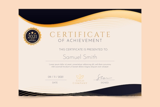 Golden luxury certificate of achievement