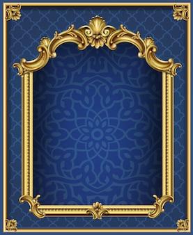 기둥이 있는 골든 럭셔리 클래식 아치. 바로크 스타일의 포털입니다. 요정의 궁전 입구