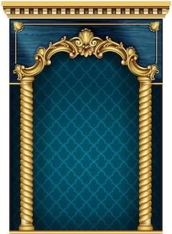 Золотая роскошная классическая арка с колоннами. портал в стиле барокко.