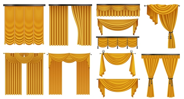 Золотые роскошные шторы и драпировки интерьера набор изолированных иллюстрация