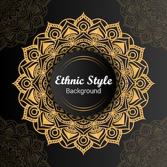 Golden luxury ethnic style mandala