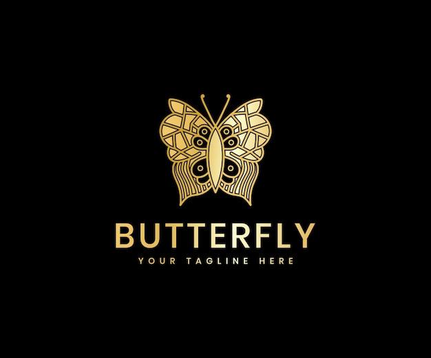 Golden luxury feminine beauty butterfly line art luxury logo design template for cosmetic brand