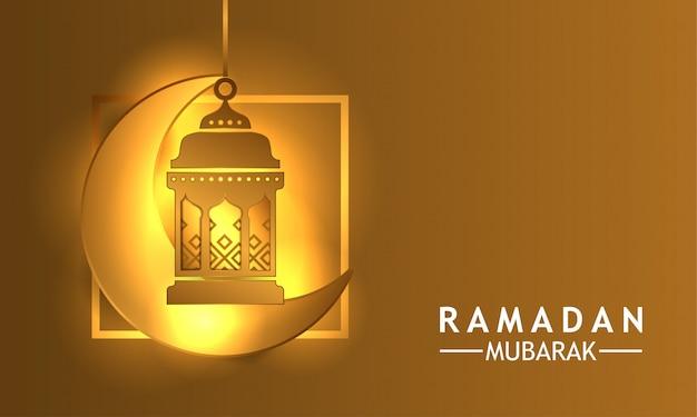Golden luxury glow lantern with crescent for ramadan kareem