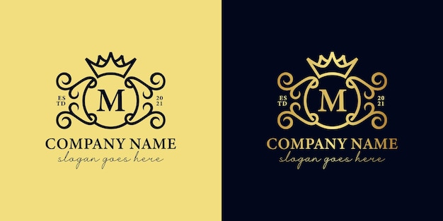 Golden luxury initials letter m with ornament and crown icon for your royal brand, wedding, decorative logo