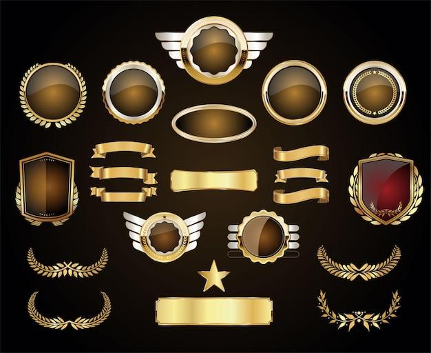Золотые роскошные этикетки ретро старинный дизайн коллекции