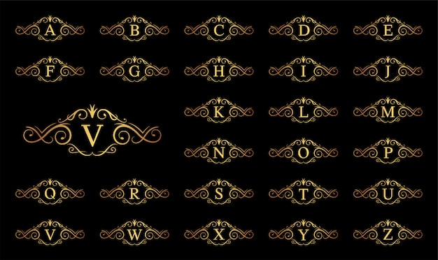 Golden luxury letter a to z on black background