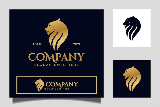 Golden luxury lion head logo for your brand and corporate identity vector template