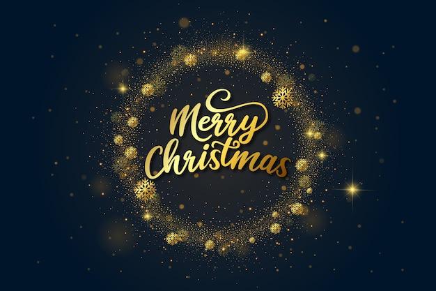 Golden luxury merry christmas lettering
