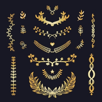 Golden luxury ornament collection