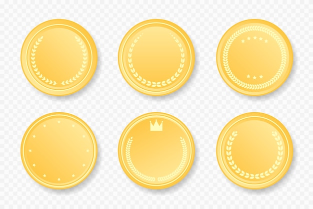 Golden luxury round frames collection. vector illustration. gold color badge stickers set with laurel wreath, stars, crown