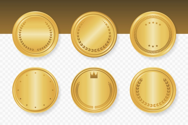 Golden luxury round frames collection. vector illustration.
