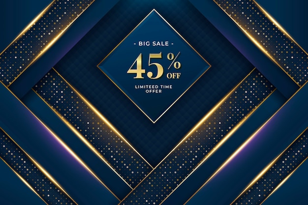Golden luxury sale background with discount