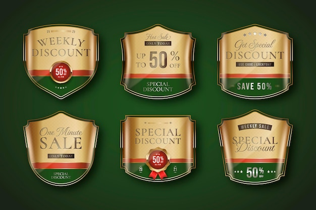 Golden luxury sale label collection