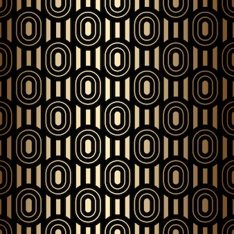 Golden luxury seamless pattern with ovals and stripes, black and gold colors in art deco style