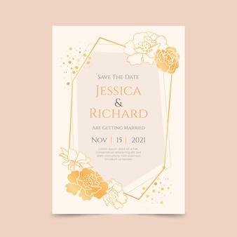 黄金の豪華な結婚式の招待状のテンプレート