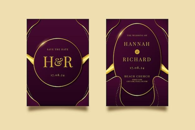 黄金の豪華な結婚式の招待状