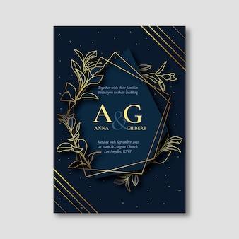 Golden luxury wedding invitation