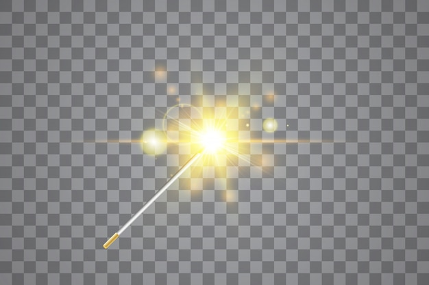 Golden magic wand. vector illustration. isolated.