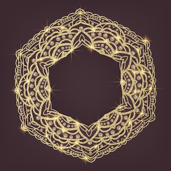 Golden mandala arabic and indian motifs
