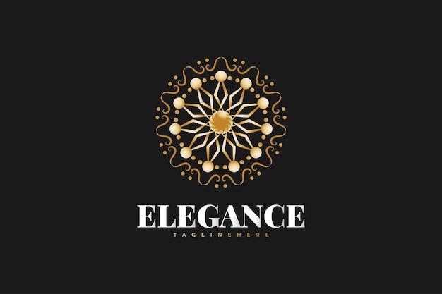 황금 만다라 로고 검은 배경에 고립입니다. 스파, 부동산, 호텔 또는 리조트 로고에 적합