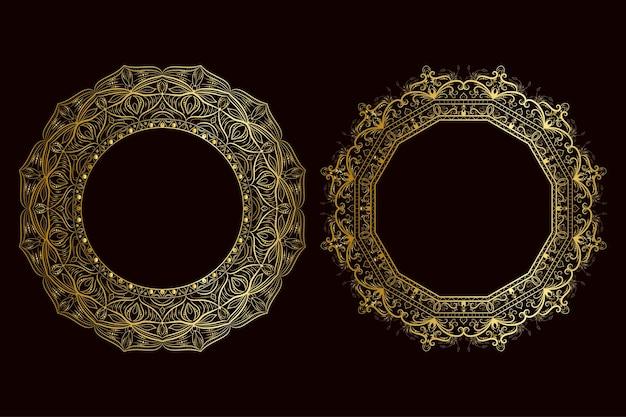 골든 만다라 럭셔리 프레임 이슬람 스타일 프레임 꽃 개념 프레임입니다.