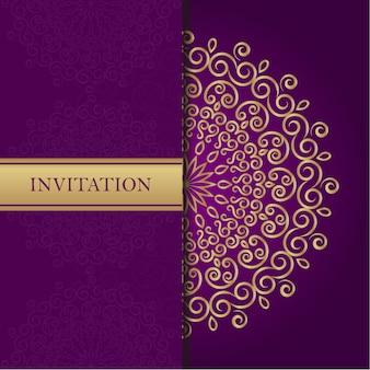 Golden mandala on purple background