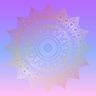 Golden mandala on pastel gradient background
