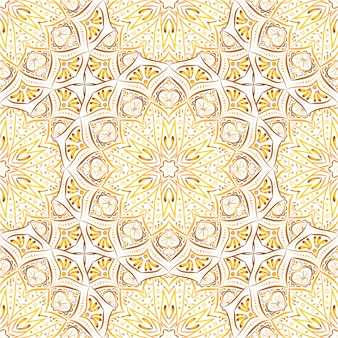 Golden mandala seamless pattern on white background.