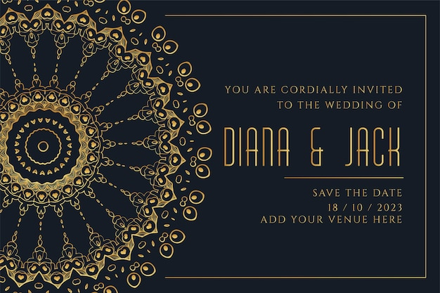 Golden mandala style wedding card template