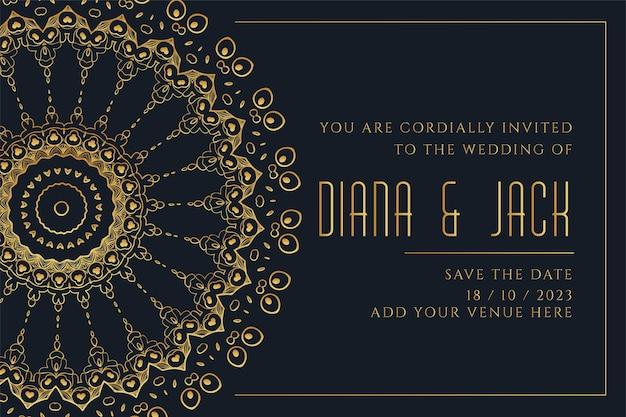 Шаблон свадебной открытки в стиле золотой мандалы