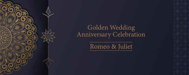 Golden mandala wedding anniversary celebration invitation card template