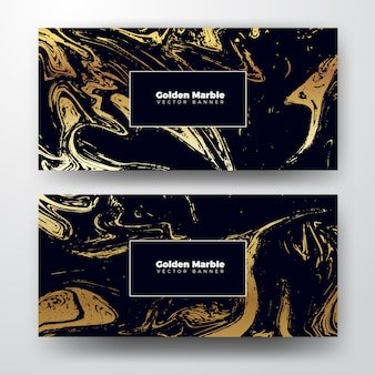 Golden marble banner texture background