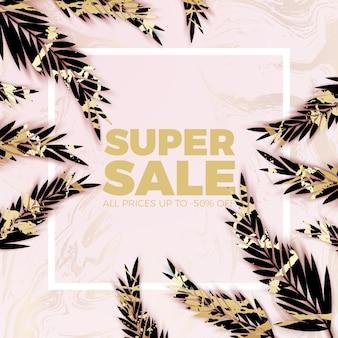 Golden marble jungle leaves elegant sale background
