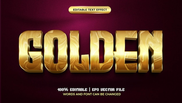 Golden marble luxury 3d editable text effect style template