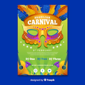 Golden mask brazilian carnival party poster