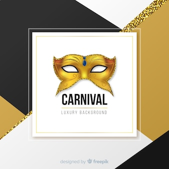 Golden mask carnival background