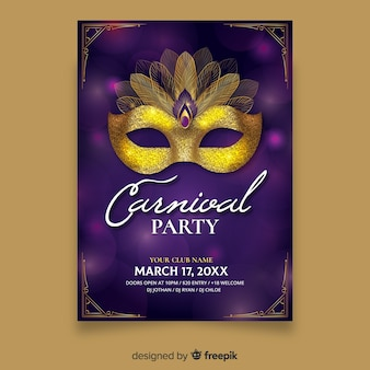 Golden mask carnival party poster