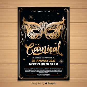 Golden mask poster carnival template