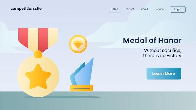 황금 메달, 희생 없이 태그라인이 있는 명예 메달로 다이아몬드 웹 사이트 템플릿 방문 홈페이지 벡터 일러스트레이션에 대한 승리는 없습니다