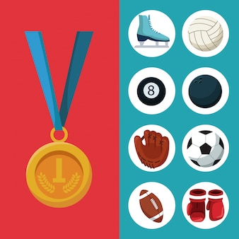 Golden medal first place and banner of set elements sports